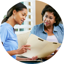 a nurse presenting documents